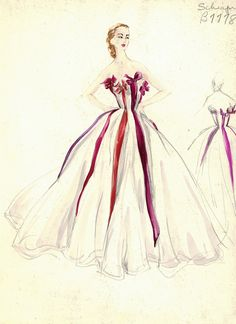 Evening gown sketch by Schiaparelli for Bergdorf Goodman, 1950s.