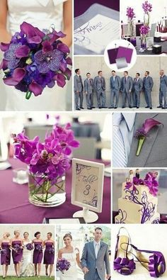 Wedding ideas: purple and grey inspiration, the guys grey suits are a lil too dark grey for me.