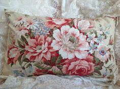 Ralph Lauren Pillow cover with large Cabbage Roses Peonies and Tulips Sand River print