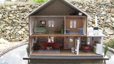 Oregon beach cottage interior, in 1/4 inch scale.  House kit by Hart's Desire Miniatures.