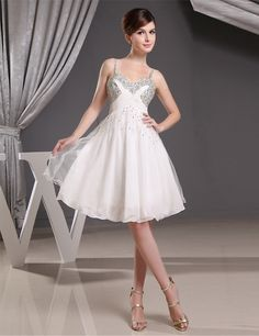 Ivory Homecoming Dresses , Silver Beading Prom Dresses
