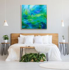 Scandi messy bed bedroom interior inspo with indoor plants fluffy cushion hairpin legs tables bright green abstract painting statement piece Messy Bed, Fluffy Cushions, Hairpin Legs, Bright Green, Indoor Plants, Framed Artwork, Original Paintings, Tables, Pastel