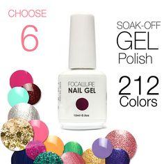 6PCS Set UV Gel By Focallure Cosmetics 212 Colors Optional UV Gel Nail Polish Long-lastting UV Gel Nails up to 30 Days