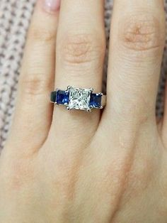 1 Ct CZ Princess Cut Engagement Ring Silver for sale online Blue Star Sapphire Ring, Sapphire Diamond Engagement, Sapphire Wedding, Trilogy Engagement Ring, 3 Stone Engagement Rings, White Gold Wedding Rings, Fancy, Ebay, Princess Cut