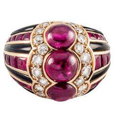 Bulgari Ruby Diamond Gold Dome Ring