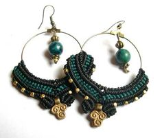 Macrame Tribal Petrol Black Hoops with Brass Tribal by MagicKnots, €20.00