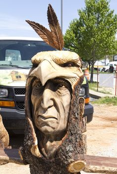 Indian & Eagle Carving at the 10th Annual Carving in the Ozarks Festival in Historic Eureka Springs, Arkansas
