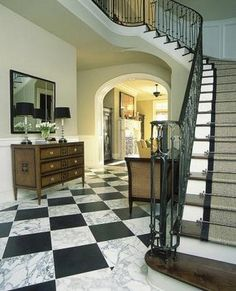 two of my favs. winding stair cases and black and white marble floors two of my favs. winding stair cases and black and white marble floors Custom Home Builders, Custom Homes, Grand Entryway, Tile Entryway, Foyer Flooring, Balcony Flooring, Winding Stair, Black And White Marble, White Tiles