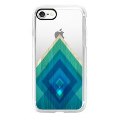 Teal and Blue Wood Triangles - iPhone 7 Case, iPhone 7 Plus Case,... ($40) ❤ liked on Polyvore featuring accessories, tech accessories, iphone case, teal iphone case, wooden iphone case, apple iphone case, iphone cases and iphone cover case