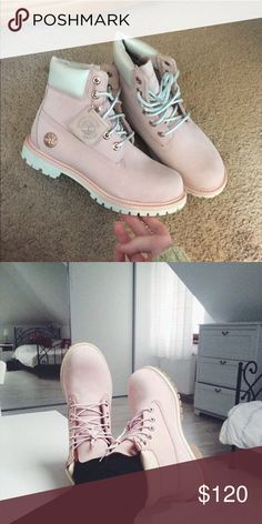 """Blush Timberland Boots Timberland Boots 6"""" Premium Boot  Size: 7 (women) Color: Blush Pink with Rose Gold  Like New Only sign of wear is on the bottom of the shoe from wearing them outside but its minor since I barely used them.   Note: These are not the classic light pink Timberlands. They were limited edition with the rose gold plating and logo detail and a pearly ankle cuff  *first pic. is of actual boots for sale  Selective with trades. Timberland Shoes Combat & Moto Boots"""
