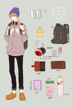 Drawing Bag, Backpack Drawing, Character Concept, Character Design, Nostalgia Art, Bag Illustration, What In My Bag, Learn Art, Fanarts Anime