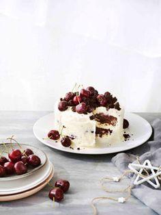 chocOlate cherry fudge coconut ice cream cake