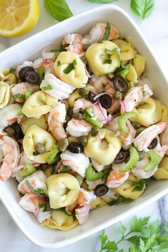 This delicious, light shrimp and tortellini salad can be served as a side or main dish, perfect for summer potlucks or pool parties.