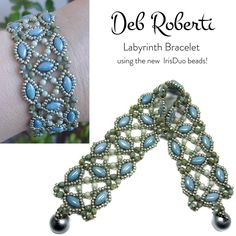 Labyrinth Bracelet beaded pattern tutorial by Deb Roberti. 11/0, 3mm round/fire polish (108-120), gemduo/diamonduo/irisduo/superduo (25-28).
