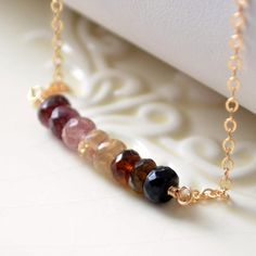 NEW Genuine Tourmaline Necklace Pink Tan and Brown by livjewellery, $62.00