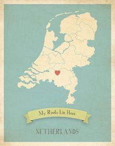 Landkaart Nederland blauw of roze
