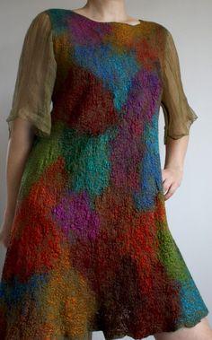 Furher SALE, nunofelt nunofelted merino silk cotton dress, felted, special…