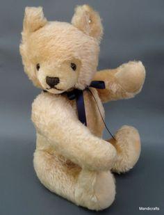 Steiff Original Mask Teddy Bear 36 cm Blonde Mohair Plush ID Button 1970  -93 Vtg 47365f341a5db