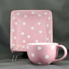 Pampered Chef Help Whip Cancer Mug and Plate Set Pink and White Polka Dots 16 oz #PamperedChef