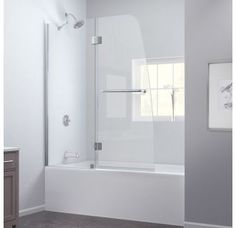 """View the DreamLine SHDR-3148586 Aqua 58"""" High x 48"""" Wide Hinged Frameless Shower Door with Clear Glass at Build.com."""