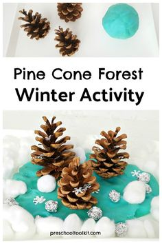 Pine cone forest winter activity for preschoolers Pine Cone Tree, Cone Trees, Pine Cones, Toddler Preschool, Preschool Activities, Uses Of Trees, Small World Play, Imaginative Play, Winter Activities
