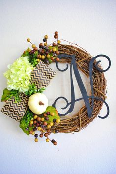 Fall Apple Green Hydrangea Monogram Grapevine Wreath with Burlap.Fall Wreath. Autumn Wreath. Winter Wreath. House Warming Gift.