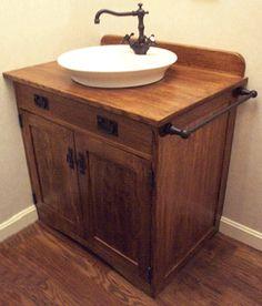 Oak Bathroom Vanity, Wood Vanity, Small Bathroom, Bathroom Ideas, Master Bathroom, Bathroom Vintage, Vintage Vanity, Basement Bathroom, Vanity Sink