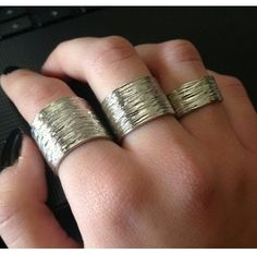 #amazing triple finger tube ring, handcrafted, brass plated.   www.ananasa.com