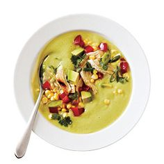 """""""Avocado-Corn Chowder with Grilled Chicken"""" -- Photo: John Autry; Styling: Cindy Barr -- """"Top a creamy chilled avocado soup with fresh corn and grilled chicken for colorful and flavorful main dish entrée. Creamy Soup Recipes, Corn Recipes, Chicken Recipes, Chowder Recipes, Chili Recipes, Korma, Biryani, Sin Gluten, Avocado Soup"""