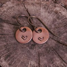 Miniature Heart Earrings Copper with Niobium by BamaRy on Etsy, $12.00