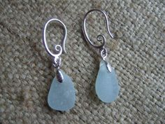Scottish sea glass silver plated romantic earrings with sea