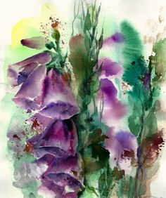 Original Watercolor Painting Abstract Flowers by CanotStop on Etsy