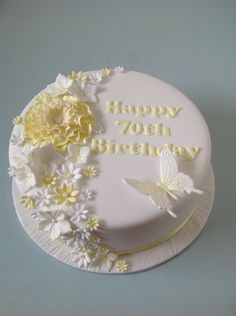 birthday cake with unwired sugar flowers 60th Birthday Cake For Ladies, 70th Birthday Decorations, Happy Birthday Cake Images, Birthday Cake With Flowers, 60th Birthday Cakes, Cake Decorating Icing, Birthday Cake Decorating, Buttercream Birthday Cake, Fathers Day Cake