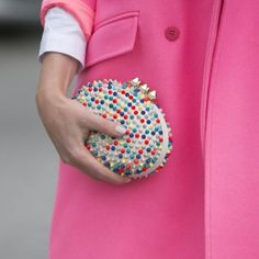 Crayon colored spikes! #pfw #stylesightings #fw14 #accessories #bags #stylesightfashionweek