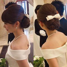 @y511hm - Instagram:「美しい横顔…💕 「ドレスとリボンのボンネに合う髪型でお願いします🎀」とご希望くださったご新婦様。 キュートな印象のご新婦様が甘くなり過ぎないように、寂しくもならないように…🤔 私からご提案させていただいたのはこちらのスタイル💁 とってもお似合いでした✨…」 Evening Hairstyles, Formal Hairstyles, Ponytail Hairstyles, Bride Hairstyles, Best Formal Dresses, Hair Arrange, Hair Setting, Floral Hair, Hair Dos