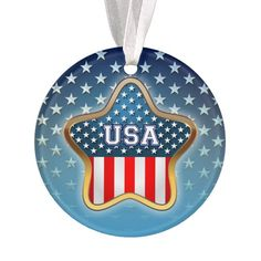 Star-And Heart Shaped American Flags Ornament