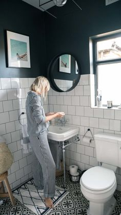 The Frugality House Interiors update: Bathroom. Black and white bathroom inspiration ideas. Bathroom Windows, Bathroom Floor Tiles, Bathroom Interior, Modern Bathroom, Family Bathroom, Mirror Bathroom, Dark Tiled Bathroom, Black And White Tiles Bathroom, Paint Floor Tiles