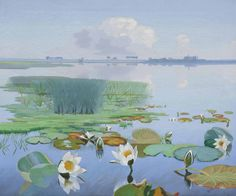 Dirk Smorenberg (Dutch, 1883-1960), Water lilies with Loosdrecht in the distance. Oil on canvas, 50.5 x 60.5 cm.