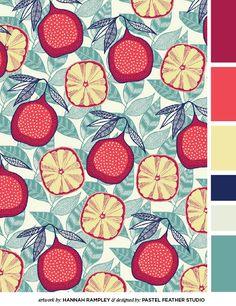 Ideas For Fruit Pattern Illustration Lemon Print Pattern Vegetal, Pattern Texture, Surface Pattern Design, Pattern Art, Pattern Drawing, Pattern Ideas, Textile Patterns, Print Patterns, Textiles