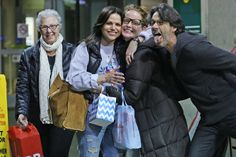 Lana Parilla, husband Fred Di Blasio travel with Rebecca Mader and her mom Jenny arriving back in Vancouver, Canada from Los Angeles. - Vancouver Airport 9 December 2015