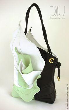 """Купить """"Каллы"""" - чёрно-белый, в полоску, шикарный подарок, сумочка ручной работы, Кожаная сумка"""