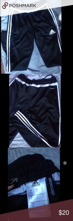 ADIDAS soccer sweatpants Adidas sweatpants. Soccer style, skinny ankle w zipper. Zipper pockets. Good used condition, worn a lot. No rips or holes, clean trim. Size S in MENS so a M in women's. Adidas Pants Track Pants & Joggers