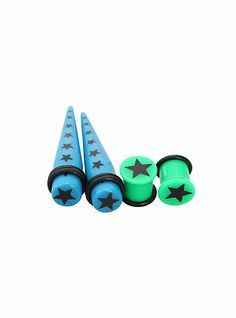 http://www.hottopic.com/hottopic/Accessories/BodyJewelry/Tapers/Morbid+Metals+Blue+Green+Star+Taper+And+Plug+4+Pack-384995.jsp