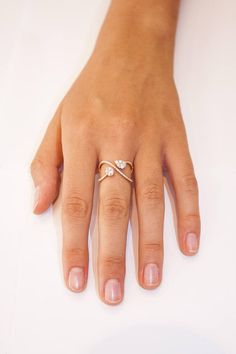 Rose gold Infinity  diamond ring, Double diamond #jewelry #ring @EtsyMktgTool http://etsy.me/2C5AphR #doublediamondring #pave #giftforher