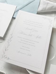 The Chateau suite is a set of semi-custom invitations that feature hand drawn greenery and clean lines. Pieces include the chateau invitation, chateau response card, chateau enclosure card, and the chateau save the date. Letterpress, foil, and digital printing available. | wedding invitations by Little Fox Paperie | Gracie Nunez