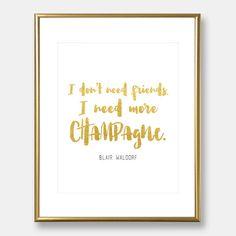 Blair Waldorf quote  Gossip Girl quote  gold by goldblushstudio