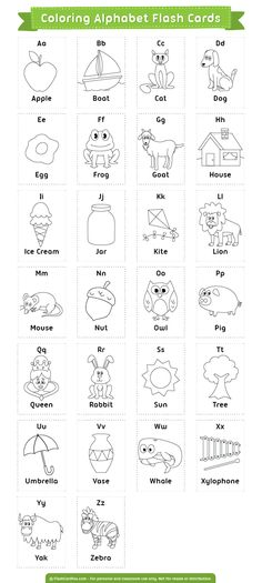 Free printable coloring alphabet flash cards. Download them in PDF format at http://flashcardfox.com/download/coloring-alphabet-flash-cards/