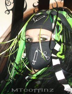 funny surgical mask to buy | DIY Cyber Goth Raver Nurse Syringe GID UV Surgical Mask