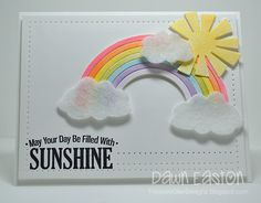 I created this card for the Paper Players #285 challenge of Rain or Shine.  I die cut the rainbow and sun and then water colour washed over the top with some distress inks.  Thanks for looking!