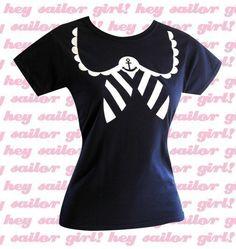 Sailor TShirt  Nautical Anchor NAVY Tee Shirt  by emandsprout, $16.00